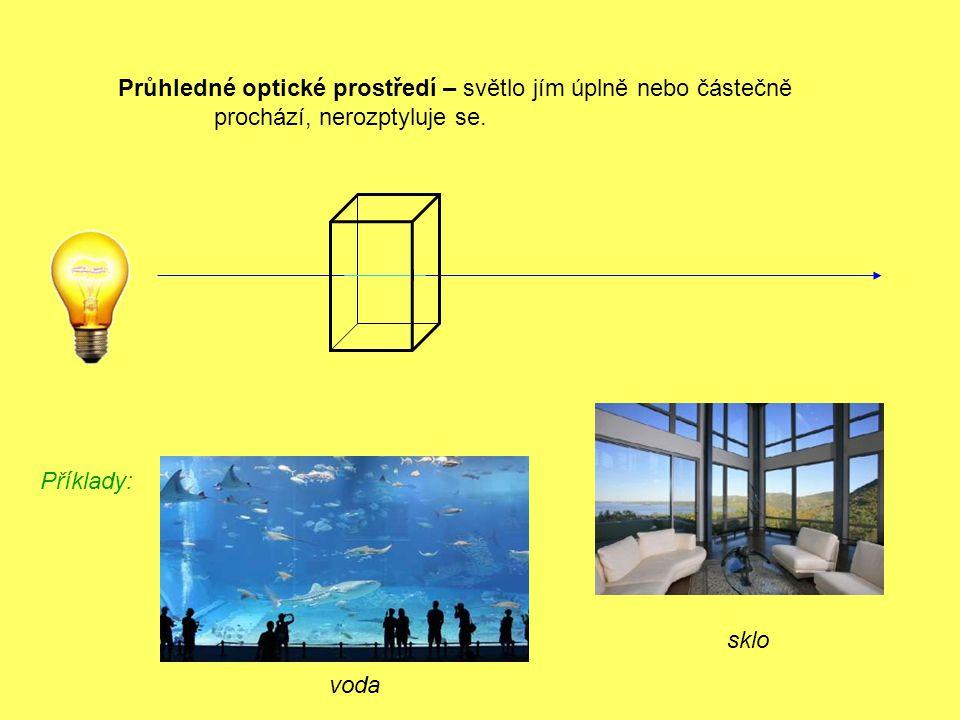 voda Příklady: sklo Průhledné optické prostředí – světlo jím úplně nebo částečně prochází, nerozptyluje se.