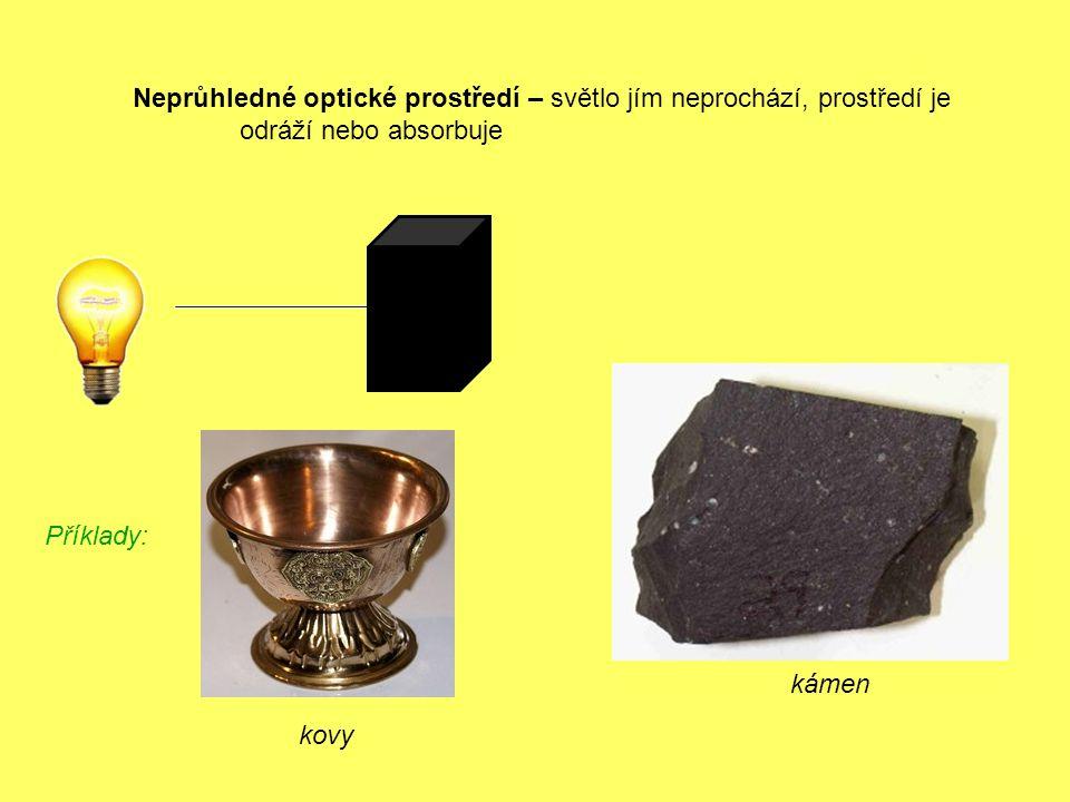 kovy Neprůhledné optické prostředí – světlo jím neprochází, prostředí je odráží nebo absorbuje Příklady: kámen