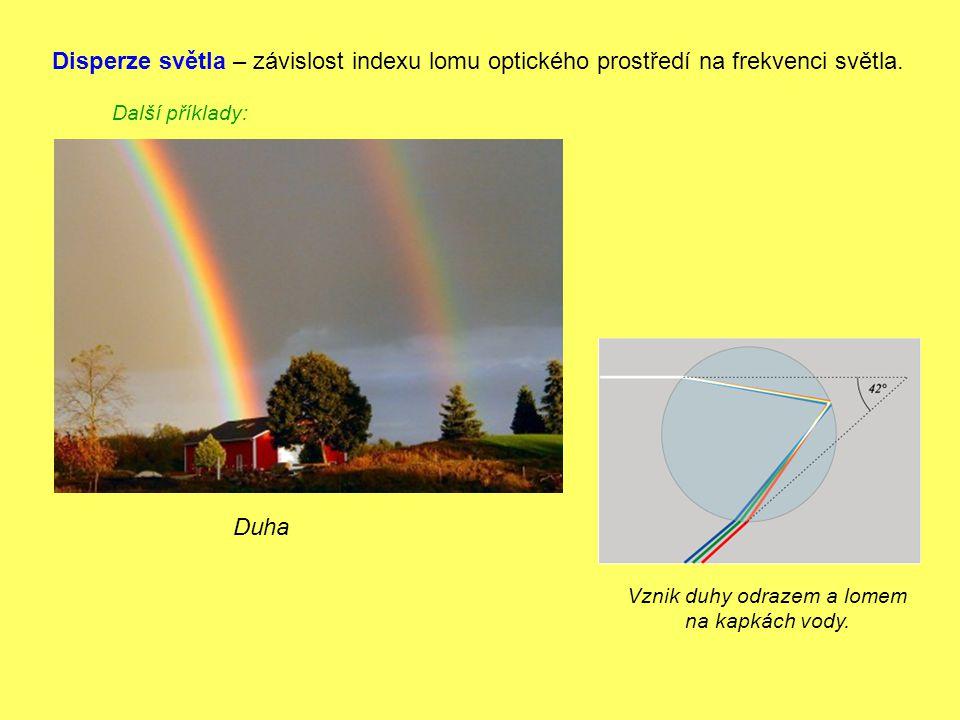 Disperze světla – závislost indexu lomu optického prostředí na frekvenci světla. Další příklady: Duha Vznik duhy odrazem a lomem na kapkách vody.