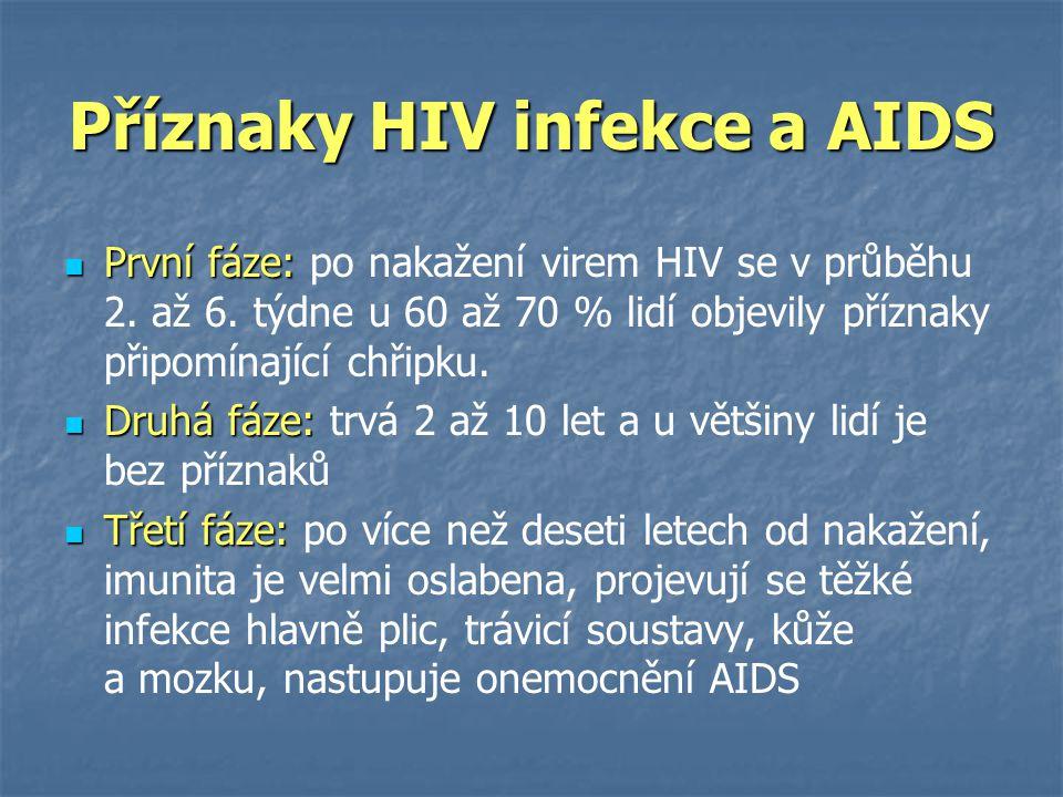 Příznaky HIV infekce a AIDS  První fáze:  První fáze: po nakažení virem HIV se v průběhu 2. až 6. týdne u 60 až 70 % lidí objevily příznaky připomín