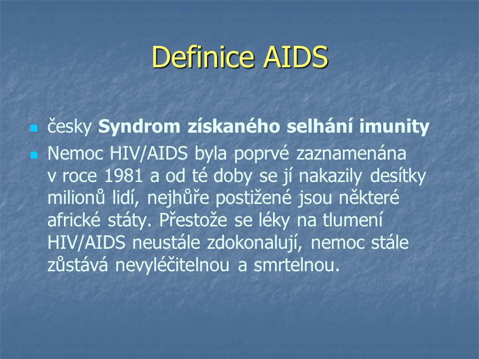 Definice AIDS   česky Syndrom získaného selhání imunity   Nemoc HIV/AIDS byla poprvé zaznamenána v roce 1981 a od té doby se jí nakazily desítky milionů lidí, nejhůře postižené jsou některé africké státy.