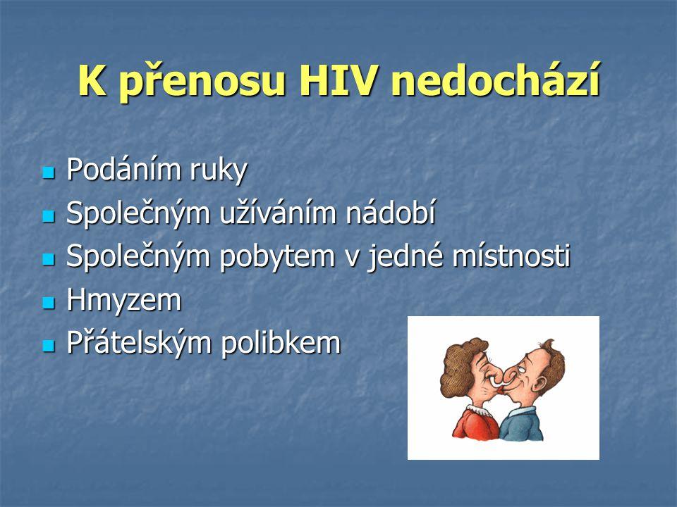 K přenosu HIV nedochází  Podáním ruky  Společným užíváním nádobí  Společným pobytem v jedné místnosti  Hmyzem  Přátelským polibkem