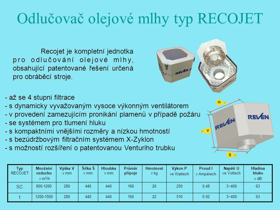 Odlučovač olejové mlhy typ RECOJET Recojet je kompletní jednotka pro odlučování olejové mlhy, obsahující patentované řešení určená pro obráběcí stroje