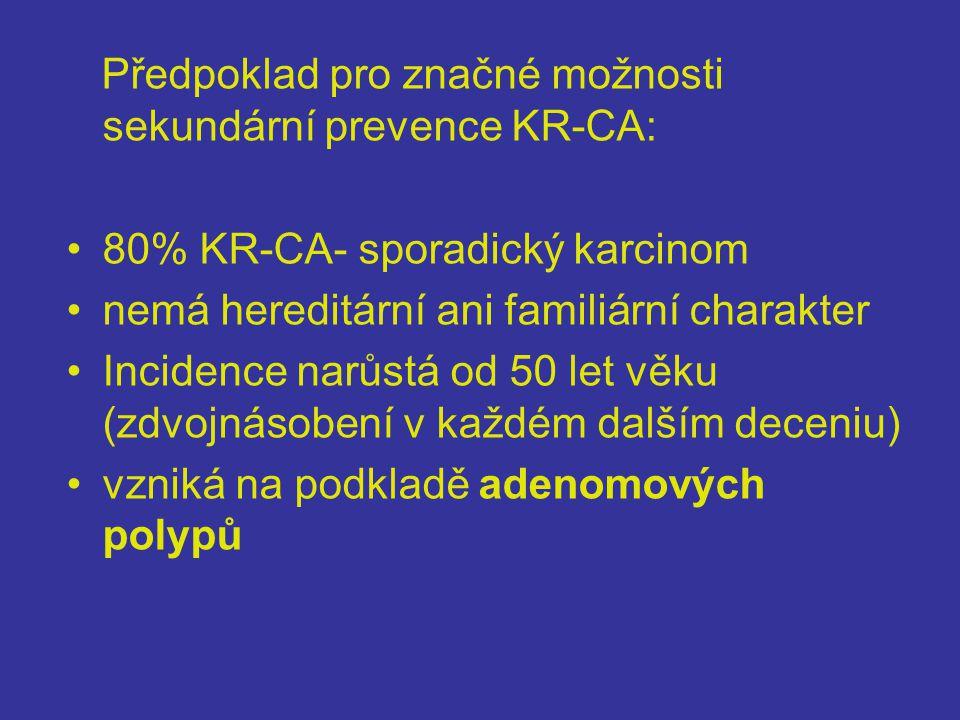 Předpoklad pro značné možnosti sekundární prevence KR-CA: •80% KR-CA- sporadický karcinom •nemá hereditární ani familiární charakter •Incidence narůstá od 50 let věku (zdvojnásobení v každém dalším deceniu) •vzniká na podkladě adenomových polypů