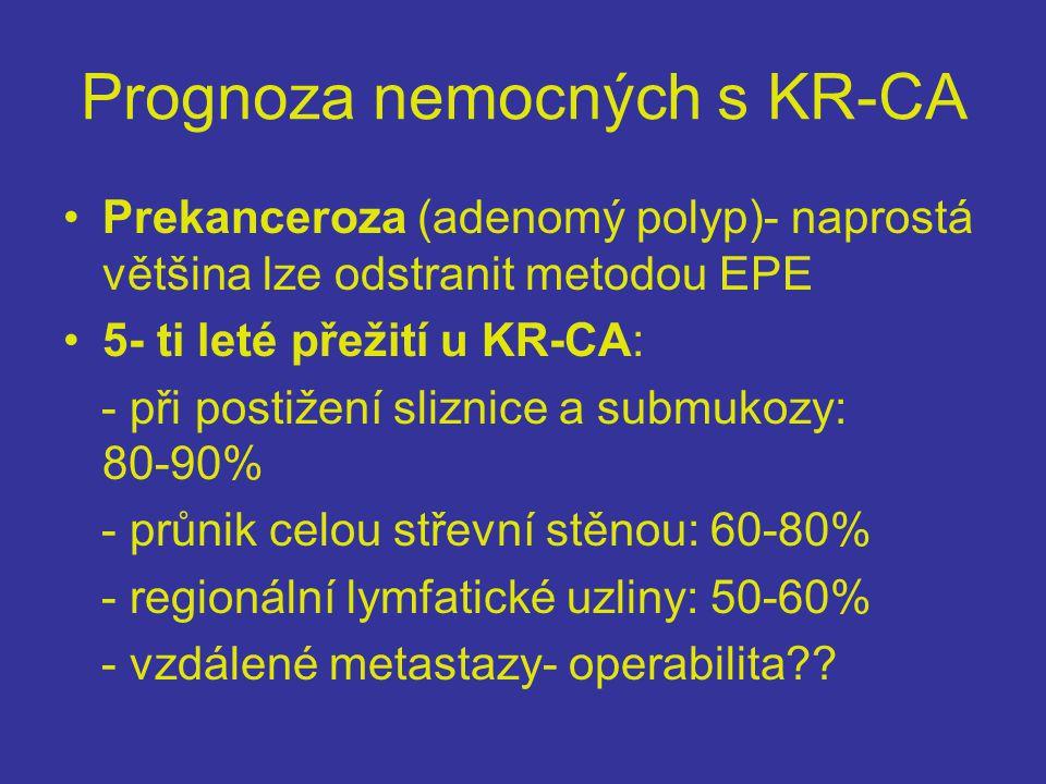 Prognoza nemocných s KR-CA •Prekanceroza (adenomý polyp)- naprostá většina lze odstranit metodou EPE •5- ti leté přežití u KR-CA: - při postižení sliznice a submukozy: 80-90% - průnik celou střevní stěnou: 60-80% - regionální lymfatické uzliny: 50-60% - vzdálené metastazy- operabilita??