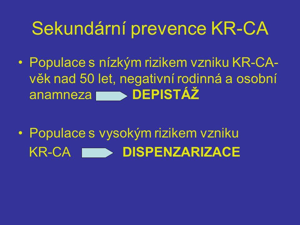 Sekundární prevence KR-CA •Populace s nízkým rizikem vzniku KR-CA- věk nad 50 let, negativní rodinná a osobní anamneza DEPISTÁŽ •Populace s vysokým rizikem vzniku KR-CA DISPENZARIZACE