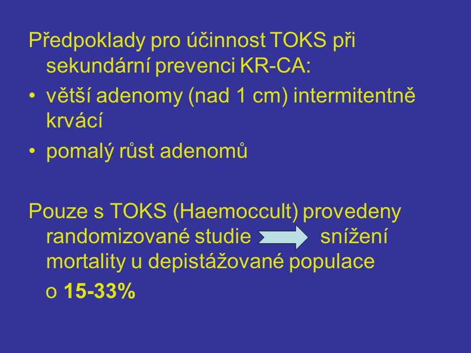 Předpoklady pro účinnost TOKS při sekundární prevenci KR-CA: •větší adenomy (nad 1 cm) intermitentně krvácí •pomalý růst adenomů Pouze s TOKS (Haemoccult) provedeny randomizované studie snížení mortality u depistážované populace o 15-33%
