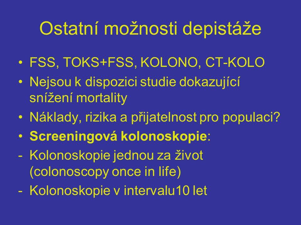 Ostatní možnosti depistáže •FSS, TOKS+FSS, KOLONO, CT-KOLO •Nejsou k dispozici studie dokazující snížení mortality •Náklady, rizika a přijatelnost pro populaci.