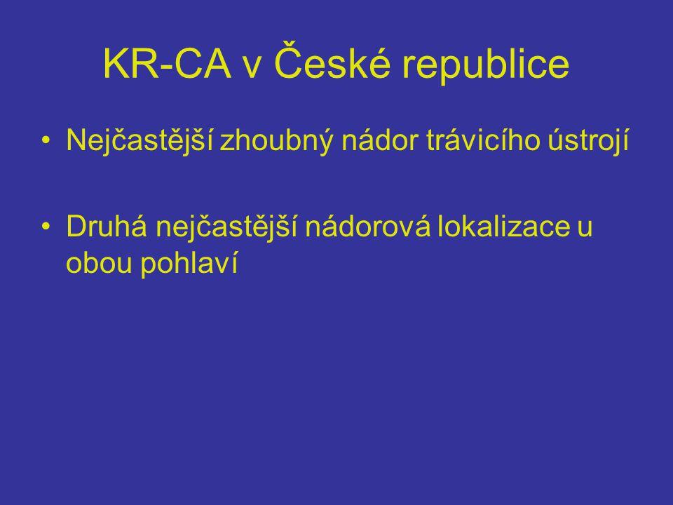 KR-CA v České republice •Nejčastější zhoubný nádor trávicího ústrojí •Druhá nejčastější nádorová lokalizace u obou pohlaví