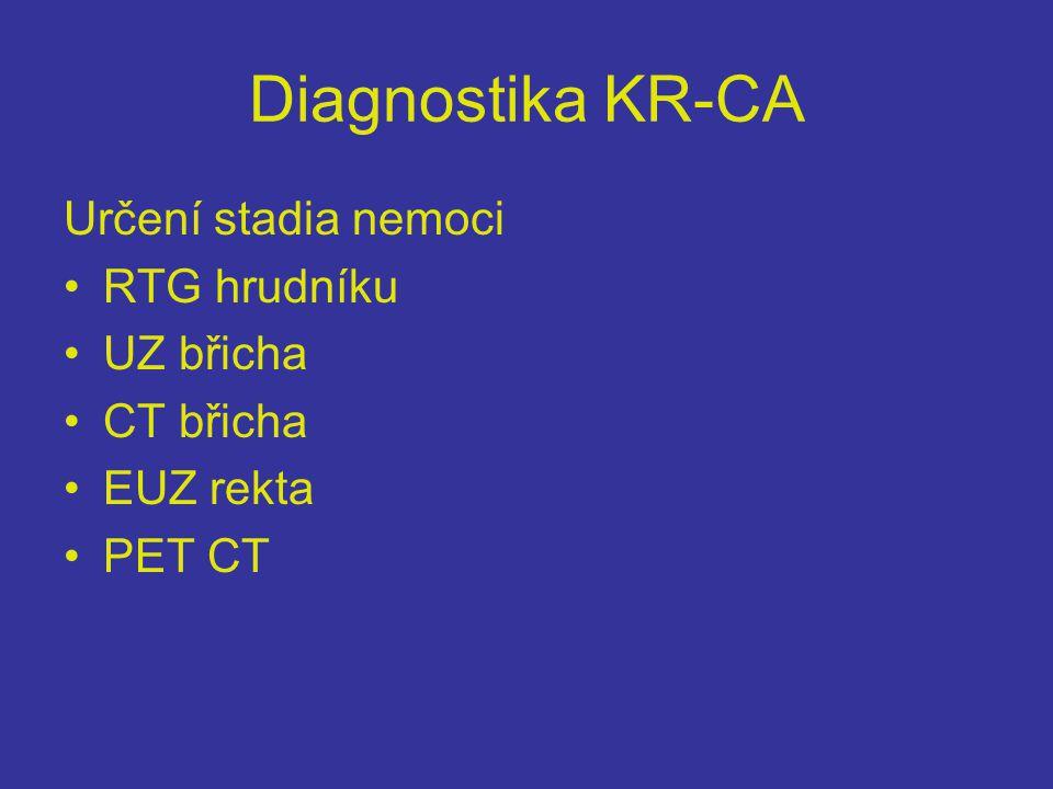 Diagnostika KR-CA Určení stadia nemoci •RTG hrudníku •UZ břicha •CT břicha •EUZ rekta •PET CT