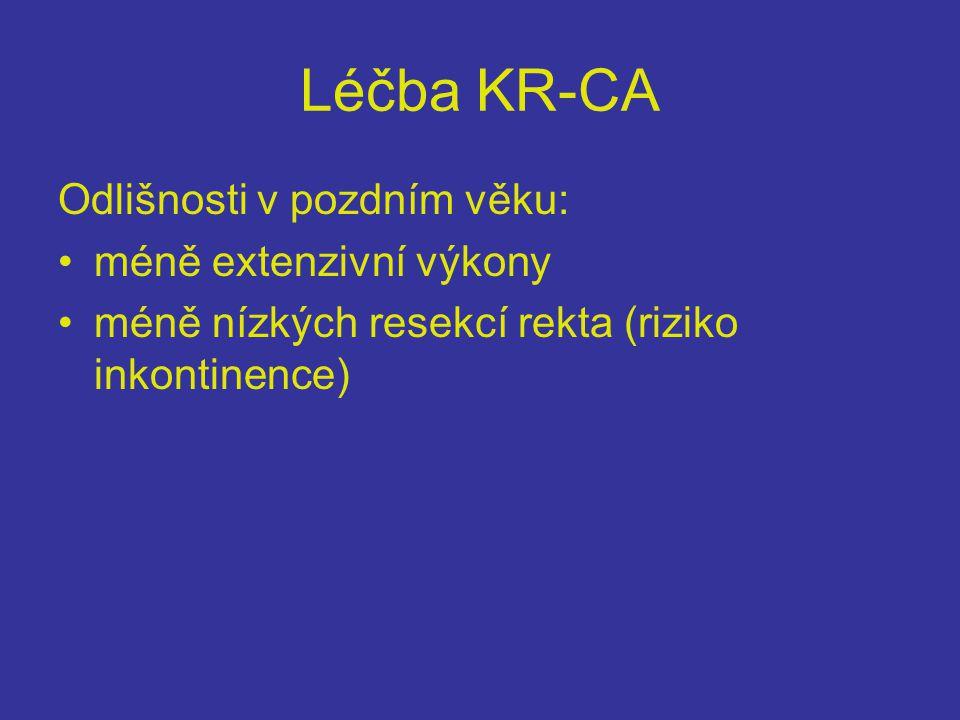 Léčba KR-CA Odlišnosti v pozdním věku: •méně extenzivní výkony •méně nízkých resekcí rekta (riziko inkontinence)