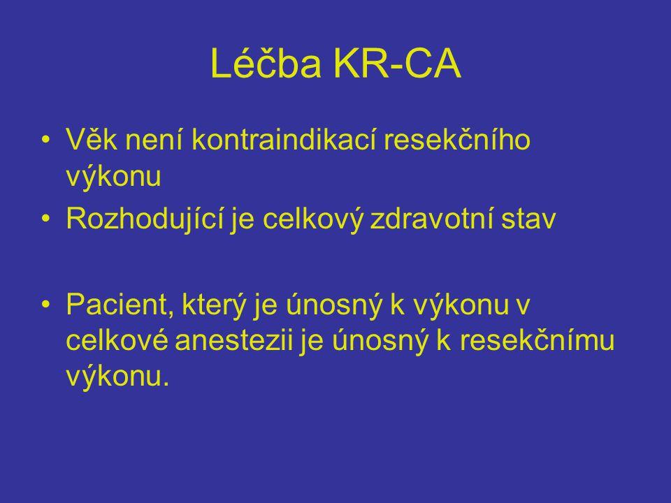 Léčba KR-CA •Věk není kontraindikací resekčního výkonu •Rozhodující je celkový zdravotní stav •Pacient, který je únosný k výkonu v celkové anestezii je únosný k resekčnímu výkonu.