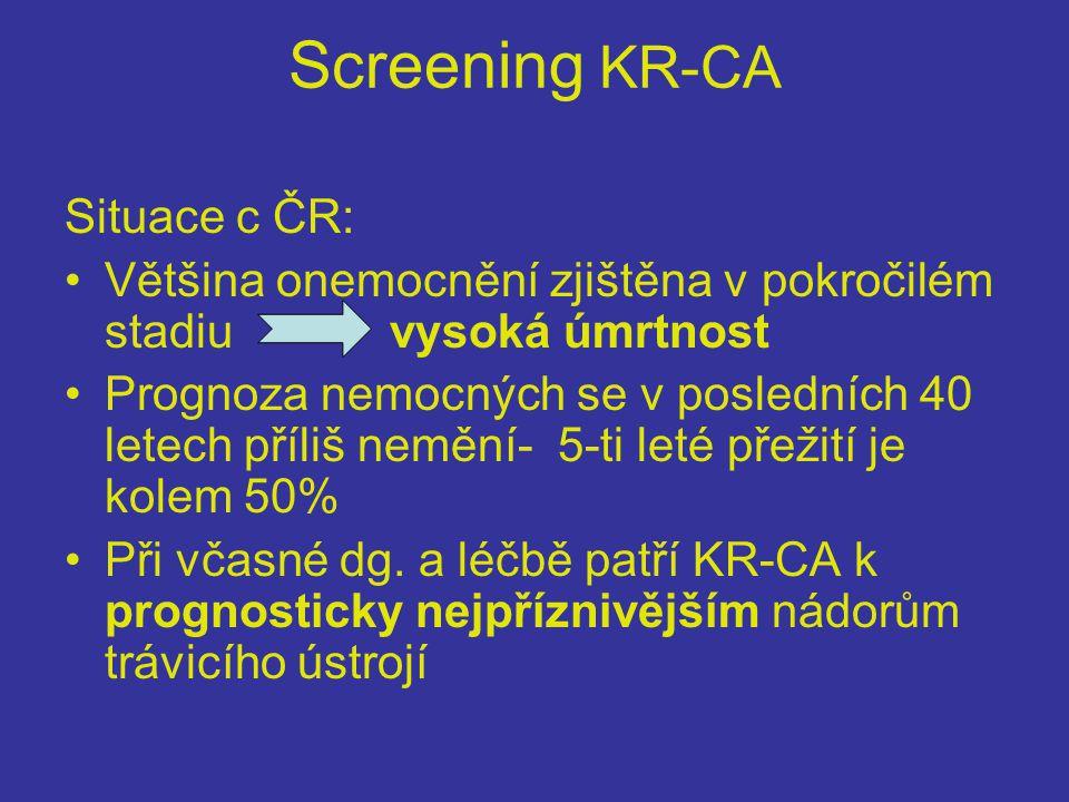 Screening KR-CA Situace c ČR: •Většina onemocnění zjištěna v pokročilém stadiu vysoká úmrtnost •Prognoza nemocných se v posledních 40 letech příliš nemění- 5-ti leté přežití je kolem 50% •Při včasné dg.
