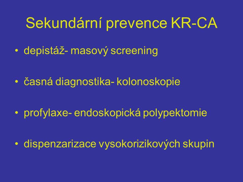 Sekundární prevence KR-CA •depistáž- masový screening •časná diagnostika- kolonoskopie •profylaxe- endoskopická polypektomie •dispenzarizace vysokorizikových skupin
