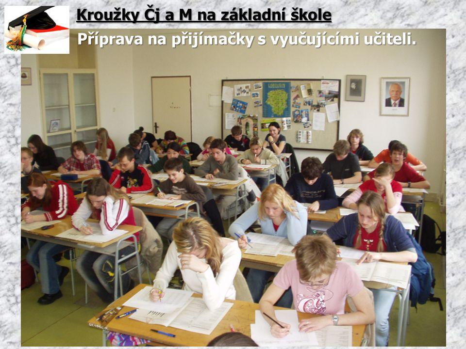 Kroužky Čj a M na základní škole Příprava na přijímačky s vyučujícími učiteli.
