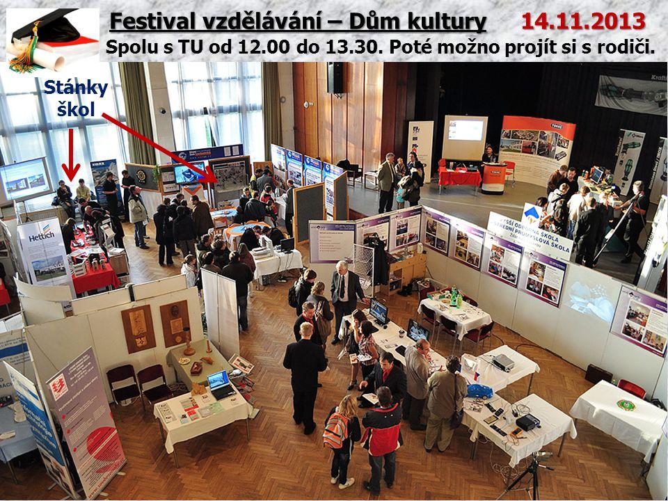 Festival vzdělávání – Dům kultury 14.11.2013 Spolu s TU od 12.00 do 13.30. Poté možno projít si s rodiči. Stánky škol
