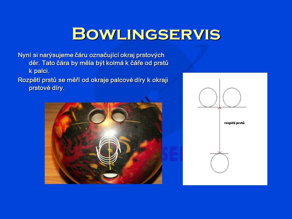 Bowlingservis Při měření rozpětí prstů musíme opět pamatovat na to že se rozpětí měří od okraje díry, ne od okraje zaoblení.