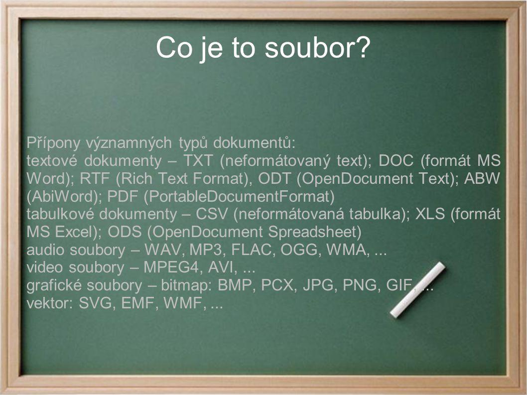 Co je to soubor? Přípony významných typů dokumentů: textové dokumenty – TXT (neformátovaný text); DOC (formát MS Word); RTF (Rich Text Format), ODT (O