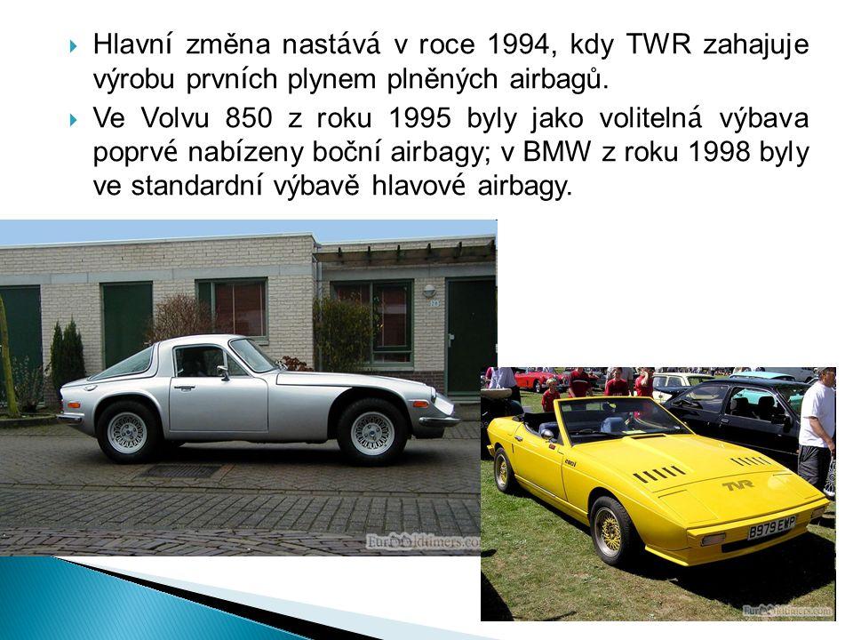  Hlavn í změna nast á v á v roce 1994, kdy TWR zahajuje výrobu prvn í ch plynem plněných airbagů.