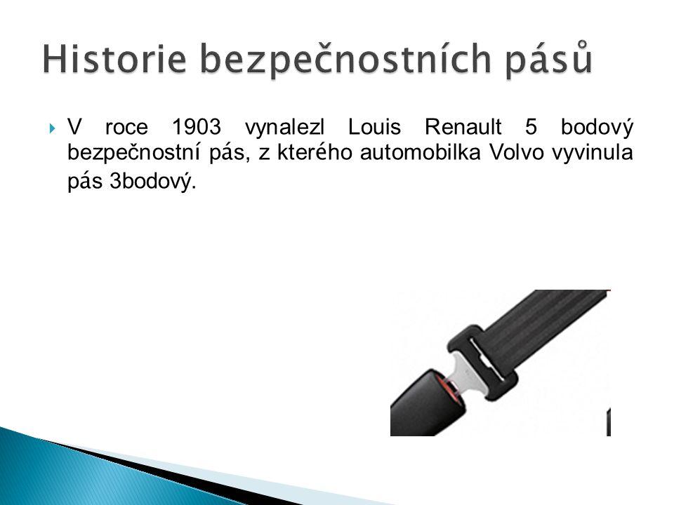  V roce 1903 vynalezl Louis Renault 5 bodový bezpečnostn í p á s, z kter é ho automobilka Volvo vyvinula p á s 3bodový.