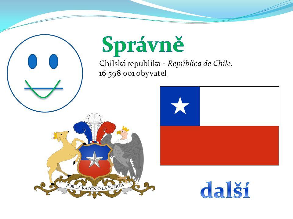 Chilská republika - República de Chile, 16 598 001 obyvatel