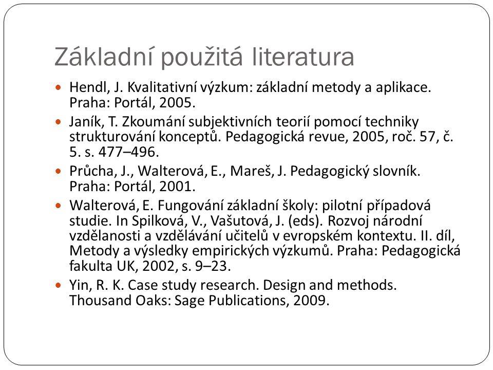 Základní použitá literatura  Hendl, J. Kvalitativní výzkum: základní metody a aplikace. Praha: Portál, 2005.  Janík, T. Zkoumání subjektivních teori