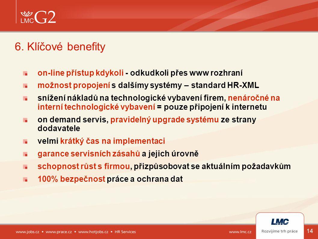 14 6. Klíčové benefity on-line přístup kdykoli - odkudkoli přes www rozhraní možnost propojení s dalšímy systémy – standard HR-XML snížení nákladů na