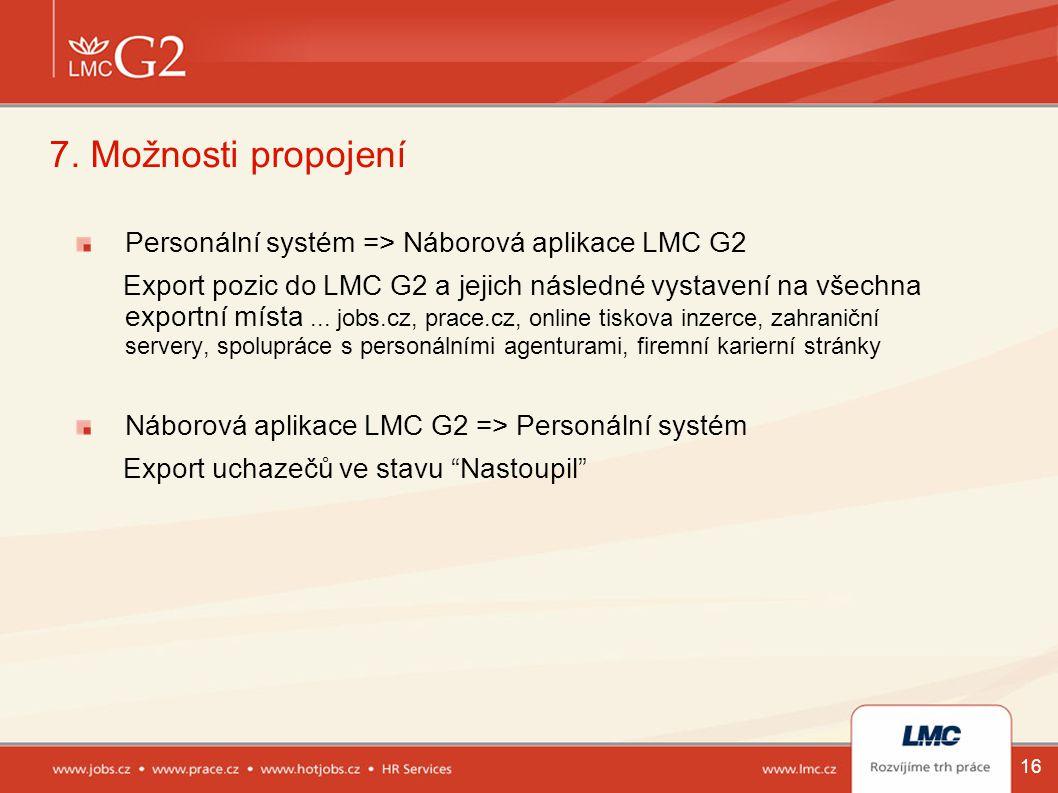 16 7. Možnosti propojení Personální systém => Náborová aplikace LMC G2 Export pozic do LMC G2 a jejich následné vystavení na všechna exportní místa...