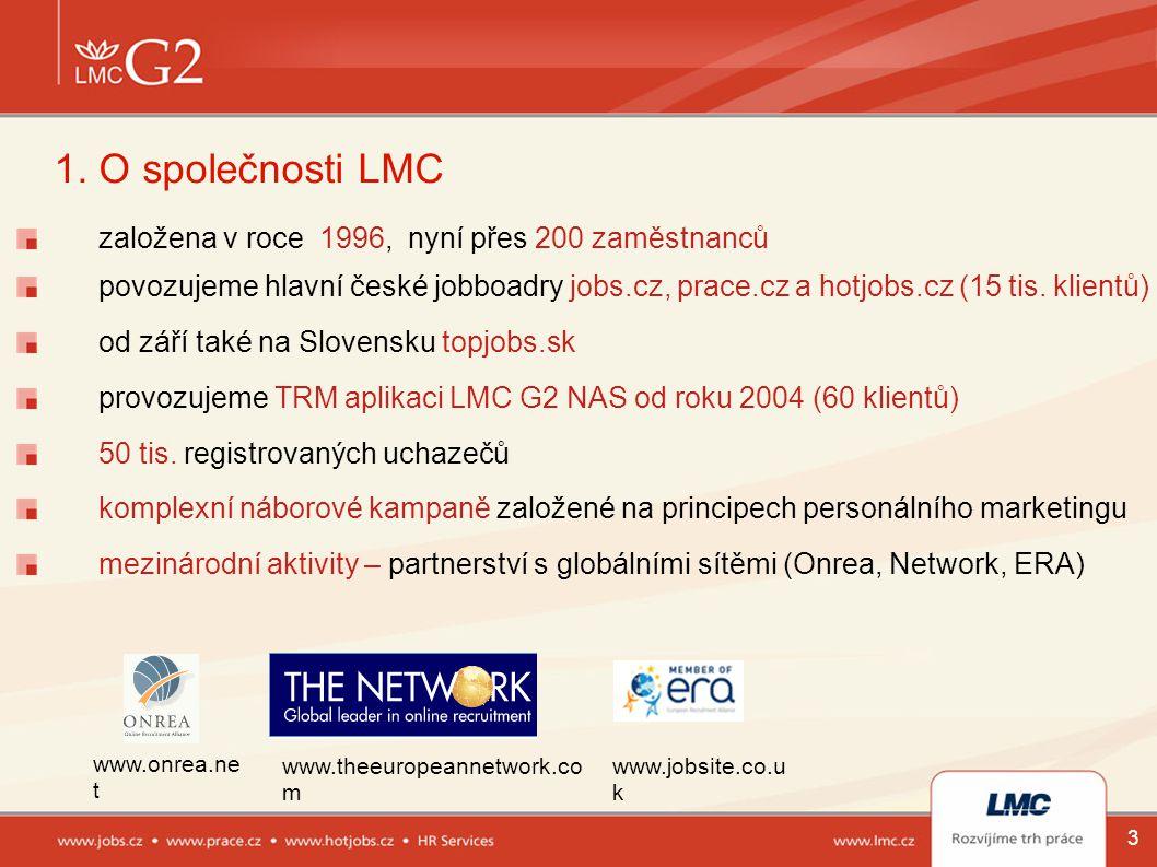 3 1. O společnosti LMC založena v roce 1996, nyní přes 200 zaměstnanců povozujeme hlavní české jobboadry jobs.cz, prace.cz a hotjobs.cz (15 tis. klien