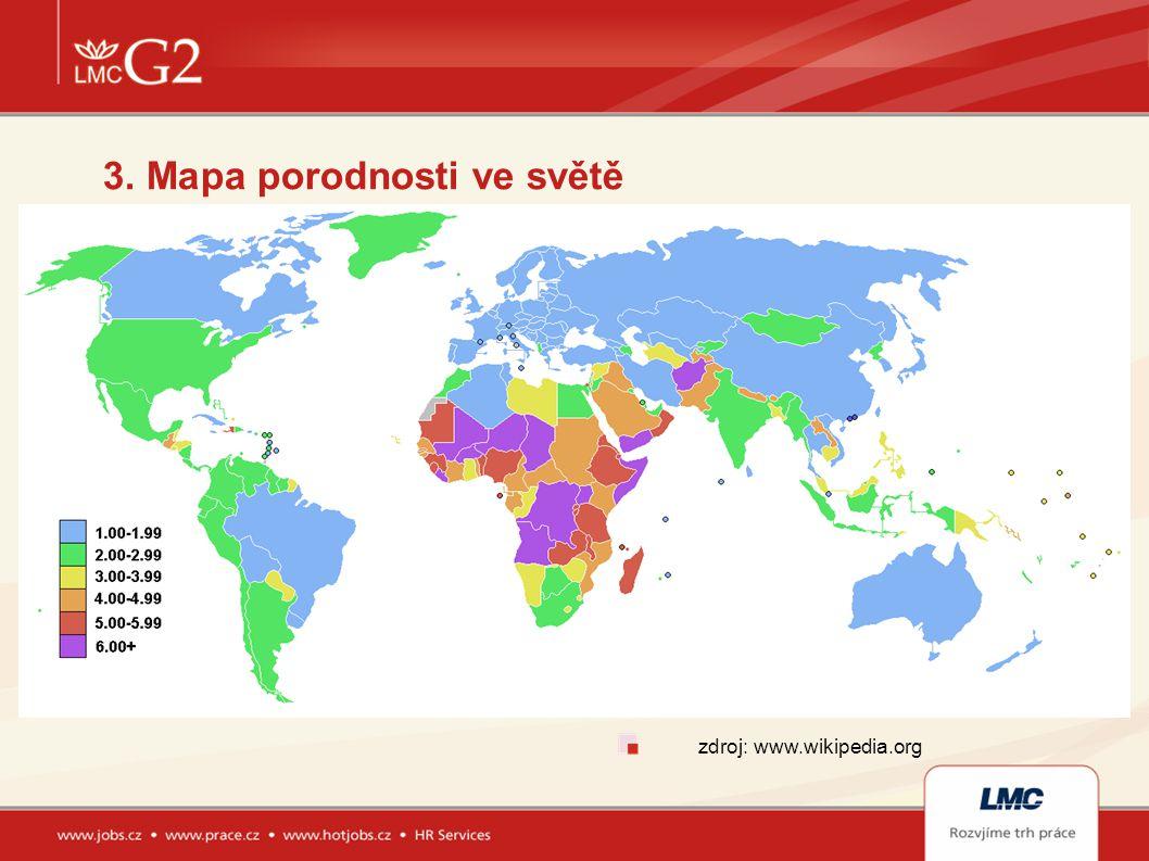 3. Mapa porodnosti ve světě zdroj: www.wikipedia.org