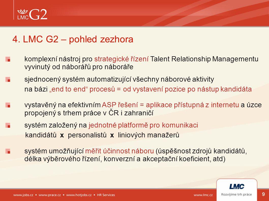 9 4. LMC G2 – pohled zezhora komplexní nástroj pro strategické řízení Talent Relationship Managementu vyvinutý od náborářů pro náboráře sjednocený sys
