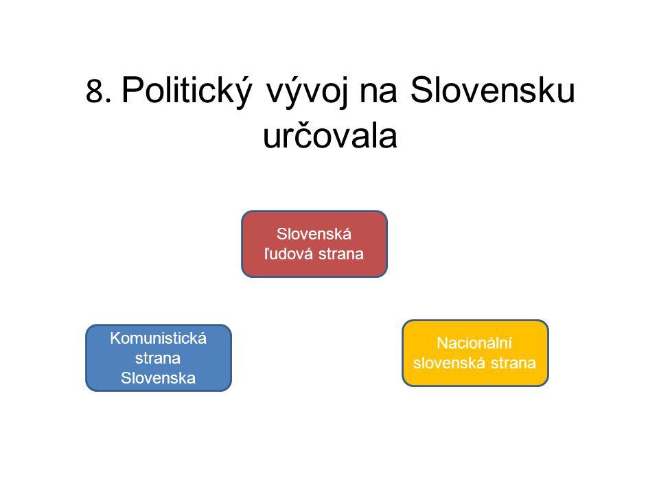8. Politický vývoj na Slovensku určovala Komunistická strana Slovenska Slovenská ľudová strana Nacionální slovenská strana