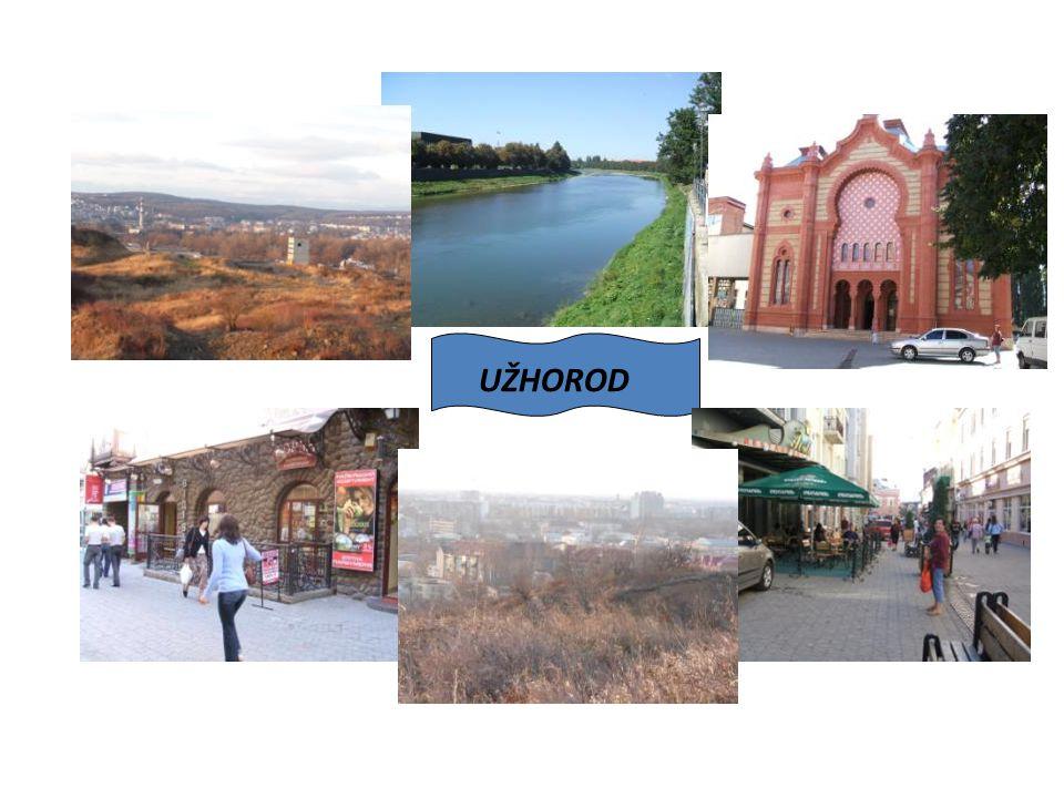 Užhorod - Ужгород Užhorod se rozkládá na obou březích řeky Už v nejzápadnější části Ukrajiny těsně u hranice se Slovenskem (hraniční přechod Vyšné Nemecké je vzdálen 4km z centra města).