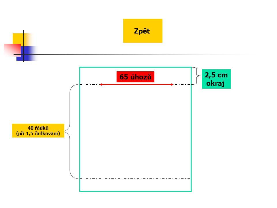 65 úhozů 2,5 cm okraj 40 řádků (při 1,5 řádkování) Zpět
