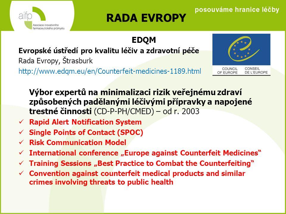 RADA EVROPY EDQM Evropské ústředí pro kvalitu léčiv a zdravotní péče Rada Evropy, Štrasburk http://www.edqm.eu/en/Counterfeit-medicines-1189.html Výbor expertů na minimalizaci rizik veřejnému zdraví způsobených padělanými léčivými přípravky a napojené trestné činnosti (CD-P-PH/CMED) – od r.