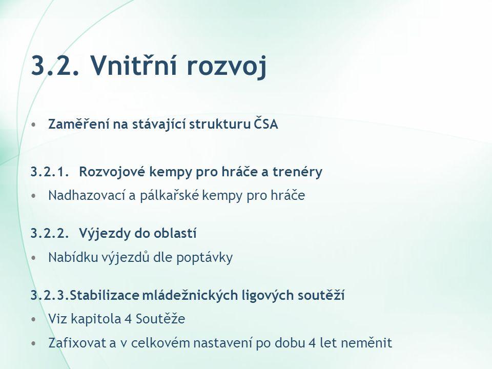 3.2. Vnitřní rozvoj •Zaměření na stávající strukturu ČSA 3.2.1.Rozvojové kempy pro hráče a trenéry •Nadhazovací a pálkařské kempy pro hráče 3.2.2.Výje