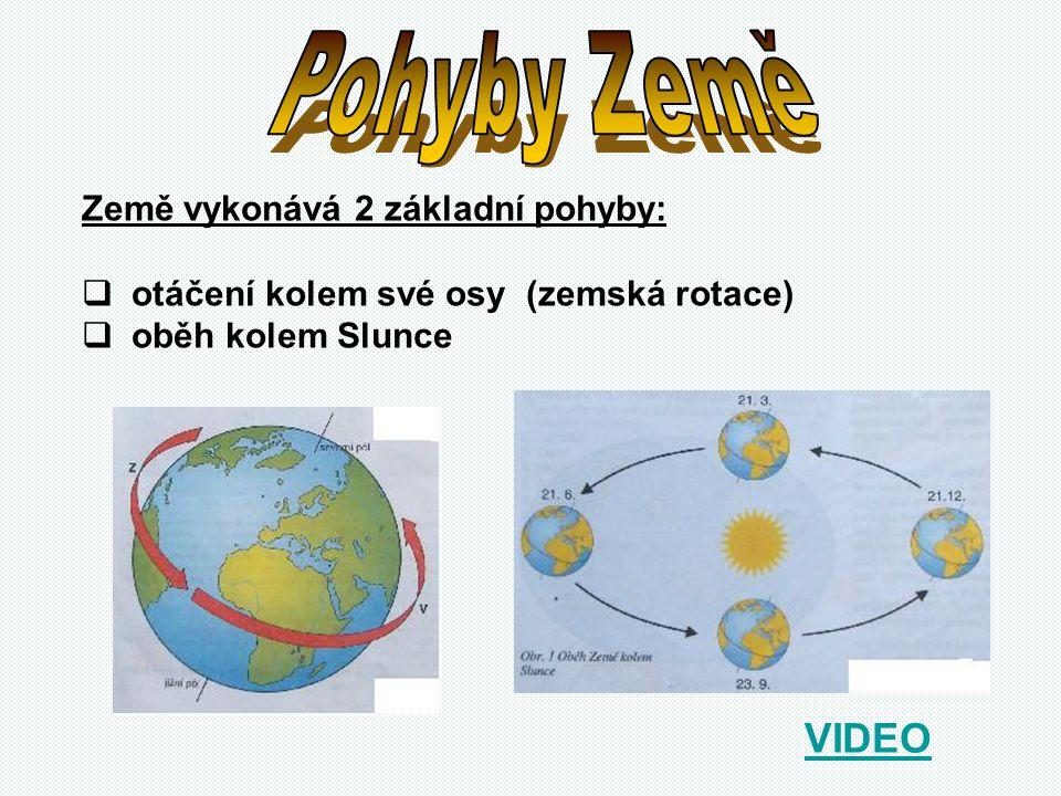Země vykonává 2 základní pohyby:  otáčení kolem své osy (zemská rotace)  oběh kolem Slunce VIDEO