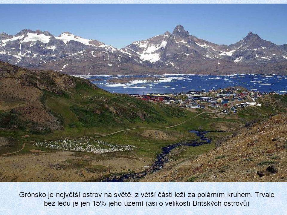 Rozloha: 2 166 086 km² Grónsko je ostrov ležící na rozhraní Atlantiku a Severního ledového oceánu. Nachází se severovýchodně od Kanady a geograficky j