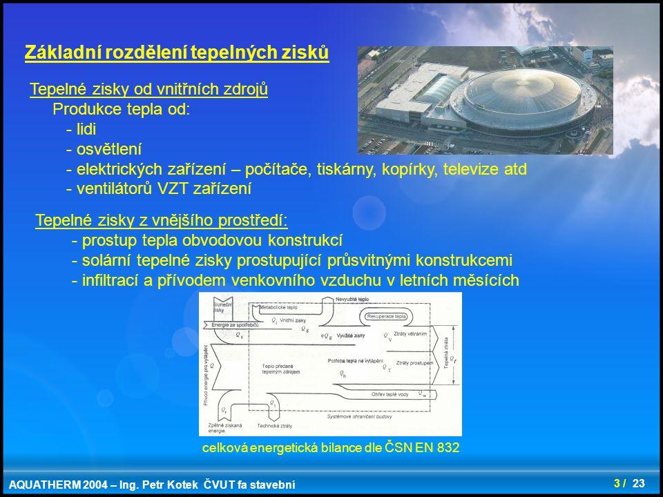 3 / 23 Tepelné zisky od vnitřních zdrojů Produkce tepla od: - lidi - osvětlení - elektrických zařízení – počítače, tiskárny, kopírky, televize atd - v