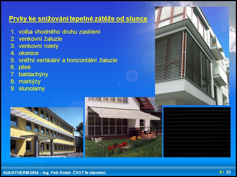 18 / 23 Využití solární energie - trombeho stěny - nezasklený solární vzduchový kolektor - dvojité transparentní fasády - energetická střecha - transparentní izolace - akumulace do stavebních konstrukcí,...