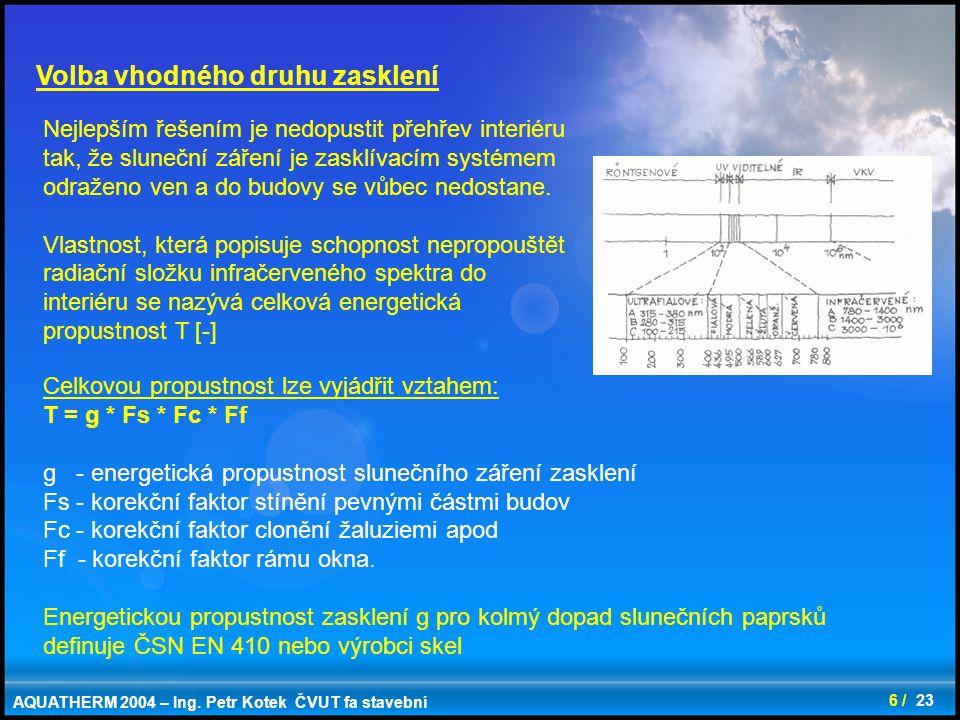 6 / 23 Volba vhodného druhu zasklení Nejlepším řešením je nedopustit přehřev interiéru tak, že sluneční záření je zasklívacím systémem odraženo ven a