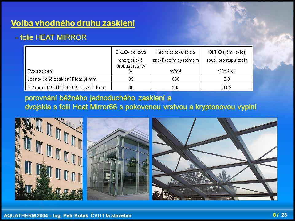 9 / 23 Volba vhodného druhu zasklení AQUATHERM 2004 – Ing. Petr Kotek ČVUT fa stavební