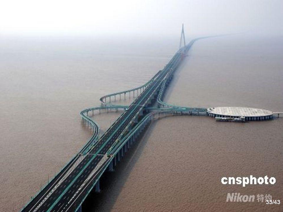 A Service Centre for visitors and tired drivers 32 Co je tak jedinečné na Hangzhou Bay Bridge je to, že má 10.000 čtverečních metrů servisního centra