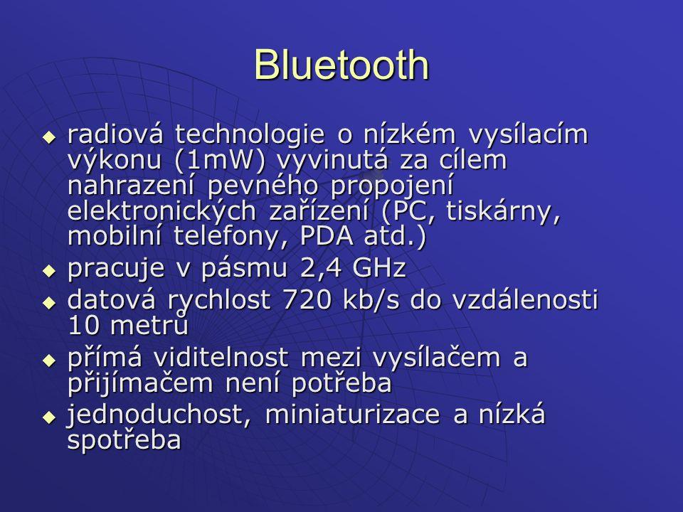 Bluetooth  radiová technologie o nízkém vysílacím výkonu (1mW) vyvinutá za cílem nahrazení pevného propojení elektronických zařízení (PC, tiskárny, m