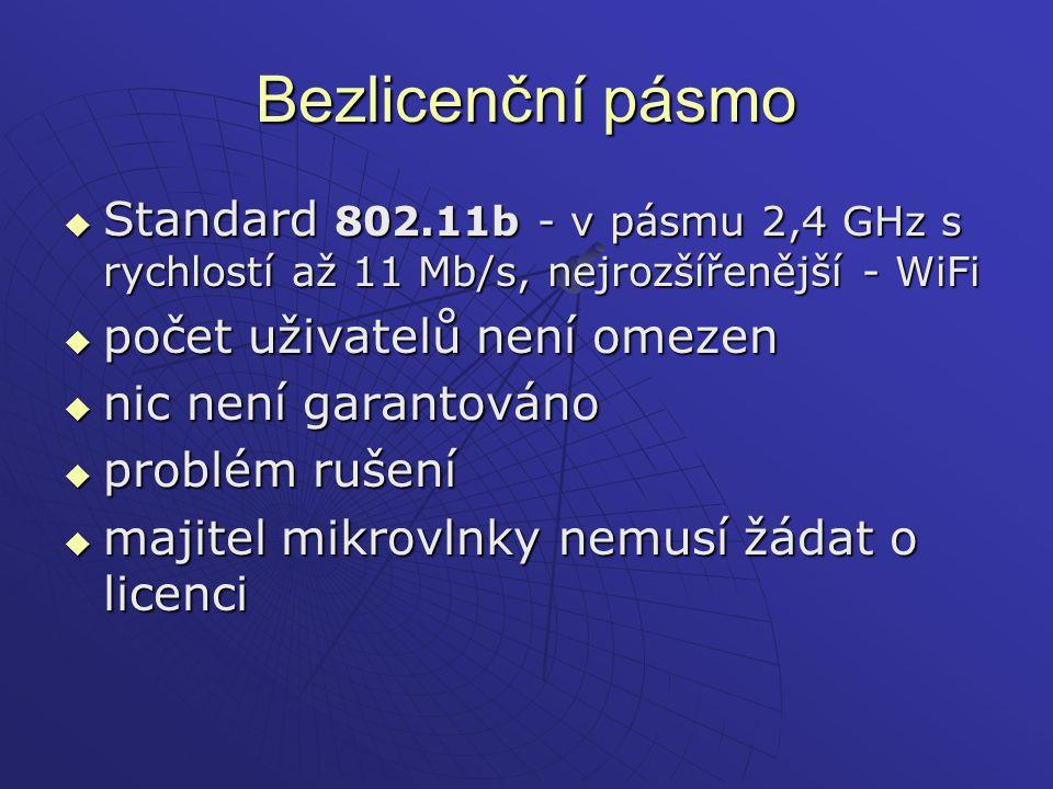 Bezlicenční pásmo  Standard 802.11b - v pásmu 2,4 GHz s rychlostí až 11 Mb/s, nejrozšířenější - WiFi  počet uživatelů není omezen  nic není garanto