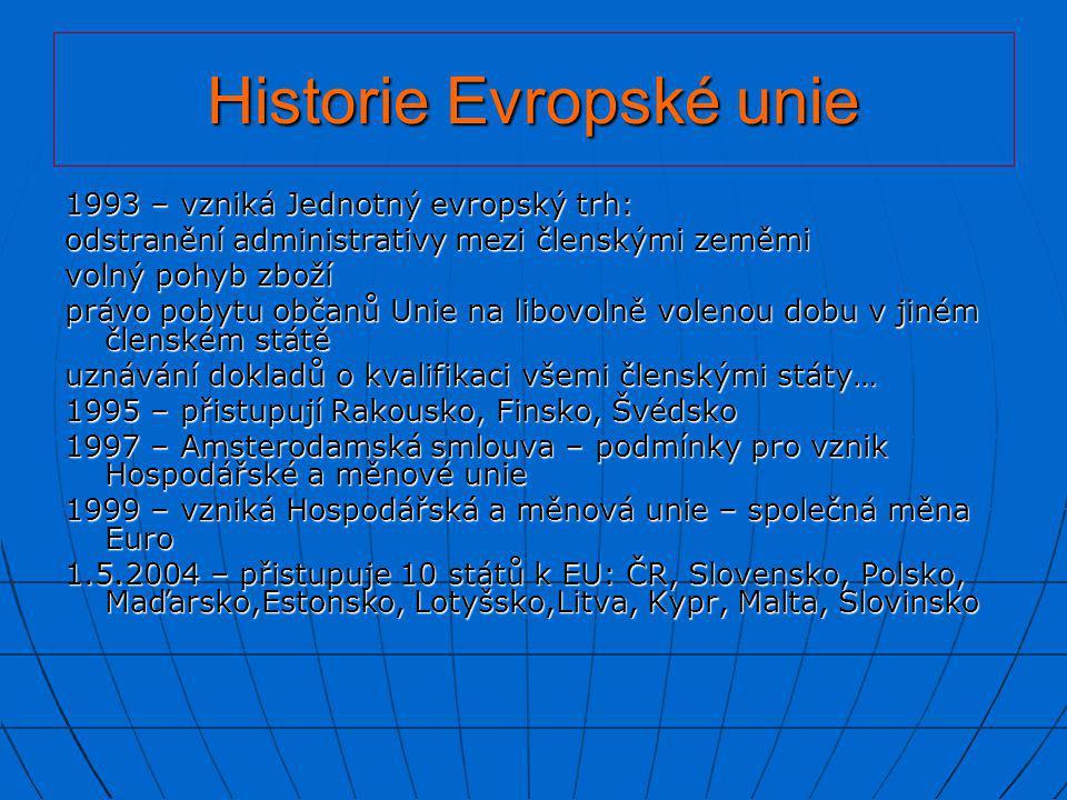 Historie Evropské unie 1993 – vzniká Jednotný evropský trh: odstranění administrativy mezi členskými zeměmi volný pohyb zboží právo pobytu občanů Unie