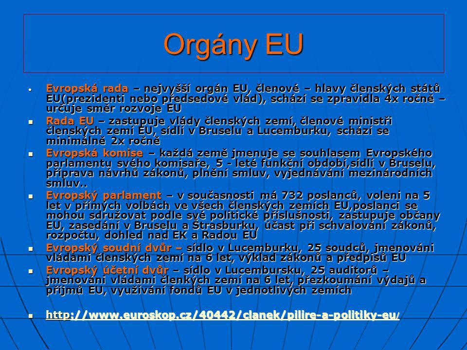 Orgány EU • Evropská rada – nejvyšší orgán EU, členové – hlavy členských států EU(prezidenti nebo předsedové vlád), schází se zpravidla 4x ročně – urč
