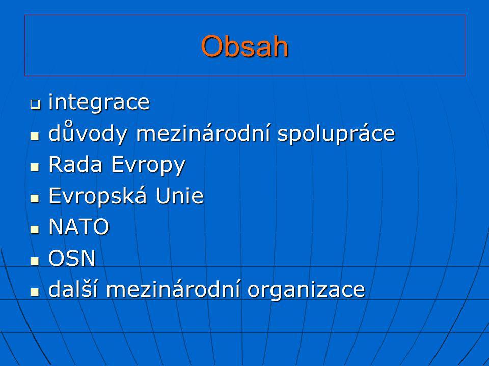 Obsah  integrace  důvody mezinárodní spolupráce  Rada Evropy  Evropská Unie  NATO  OSN  další mezinárodní organizace