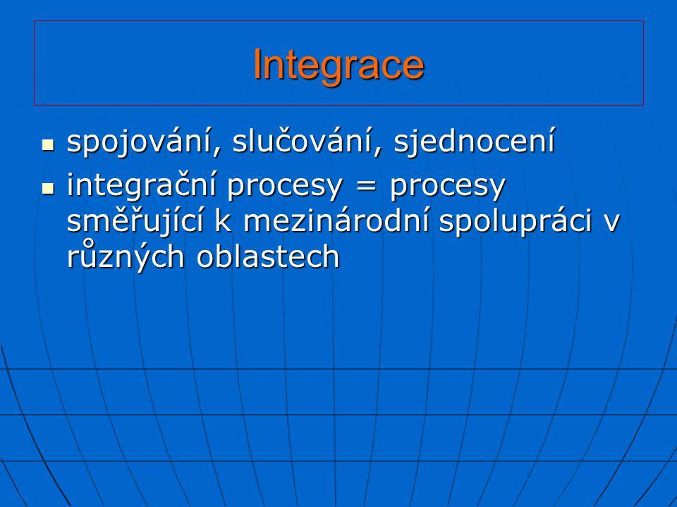 Integrace  spojování, slučování, sjednocení  integrační procesy = procesy směřující k mezinárodní spolupráci v různých oblastech