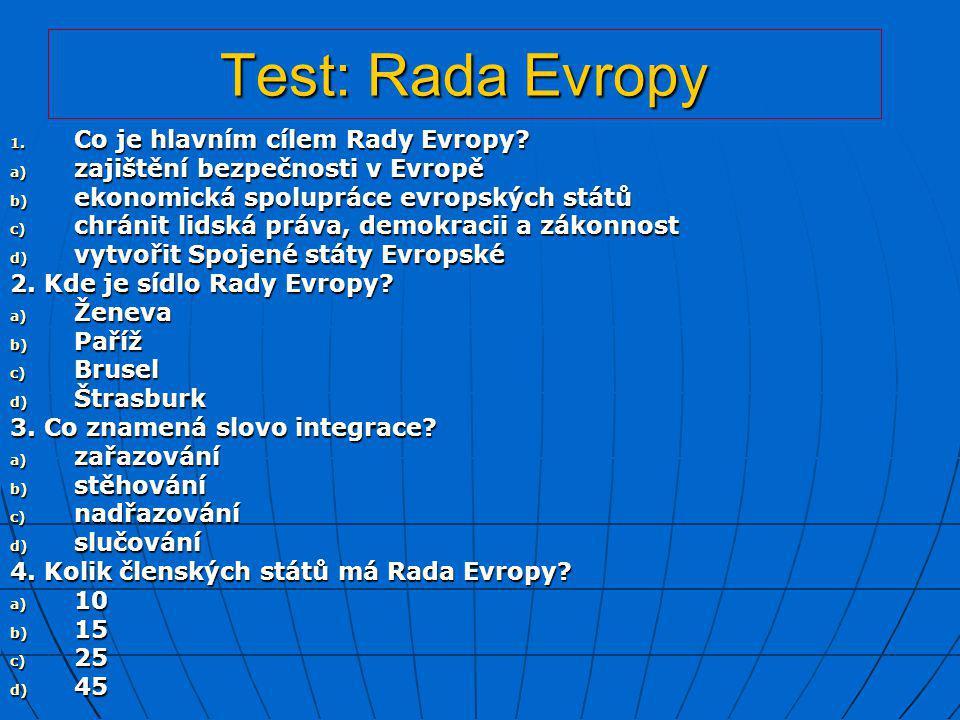 Test: Shrnutí 1.Ve kterém roce bylo založeno NATO.